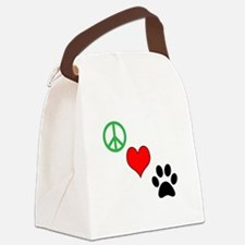 Peace, Love, Paws Canvas Lunch Bag