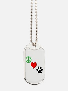 Peace, Love, Paws Dog Tags