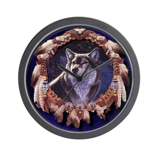 Native American Wolf Dream Catcher Wall Clock By