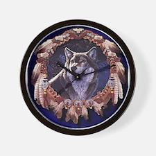 Native American Wolf Dream Catcher Wall Clock