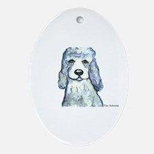 """""""Gray Poodle"""" Oval Ornament"""