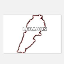 Outline Map of Lebanon Postcards (Package of 8)