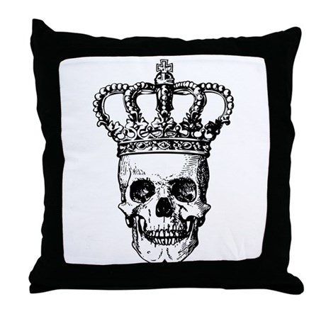 Crowned Skull (black) Throw Pillow