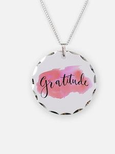 Gratitude Necklace Circle Charm