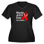 World AIDS Day Women's Plus Size V-Neck Dark T-Shi