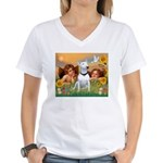 Cherubs / Bull Terrier Women's V-Neck T-Shirt