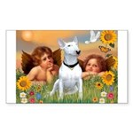 Cherubs / Bull Terrier Rectangle Sticker