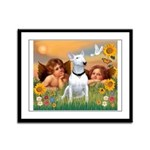 Cherubs / Bull Terrier Framed Panel Print