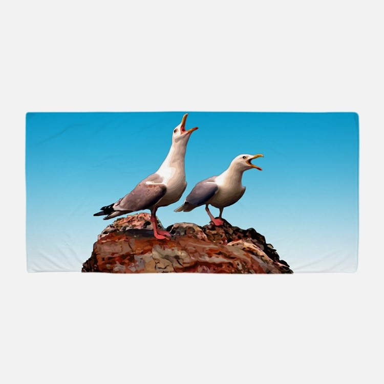 Catcalling Sea Gulls Beach Towel