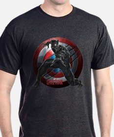 Black Panther Scratched Shield T-Shirt