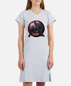 Black Panther Scratched Shield Women's Nightshirt