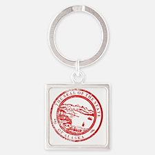 Unique Alaska state seal Square Keychain