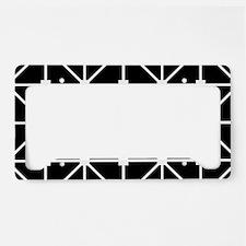 Black And White Grid Lattice License Plate Holder