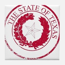 Texas State Rubber Stamp Seal Tile Coaster