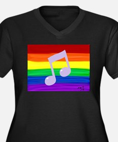 Gay music note art rainbow Plus Size T-Shirt