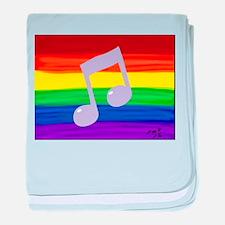 Gay music note art rainbow baby blanket