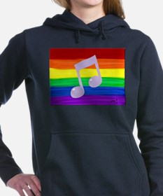 Gay music note art rainb Women's Hooded Sweatshirt
