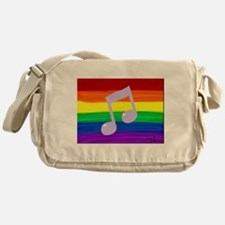 Gay music note art rainbow Messenger Bag