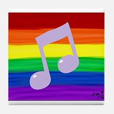 Gay music note art rainbow Tile Coaster