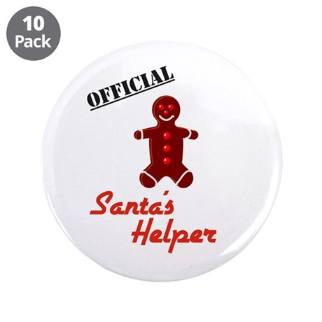 "Santa's Helper 3.5"" Button (10 pack)"