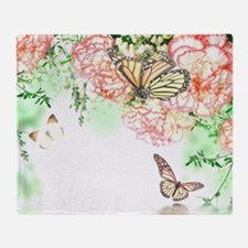Butterfly Flowers Throw Blanket