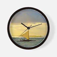 Tropical Sunset Sail and Surf Wall Clock