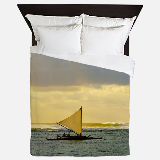 Tropical Sunset Sail and Surf Queen Duvet