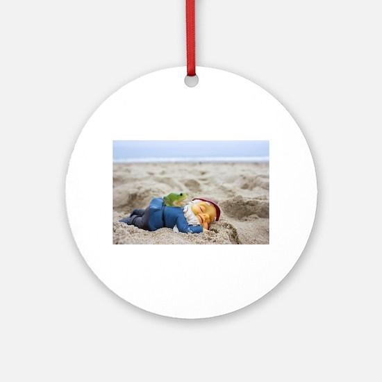 Napping Gnome Round Ornament