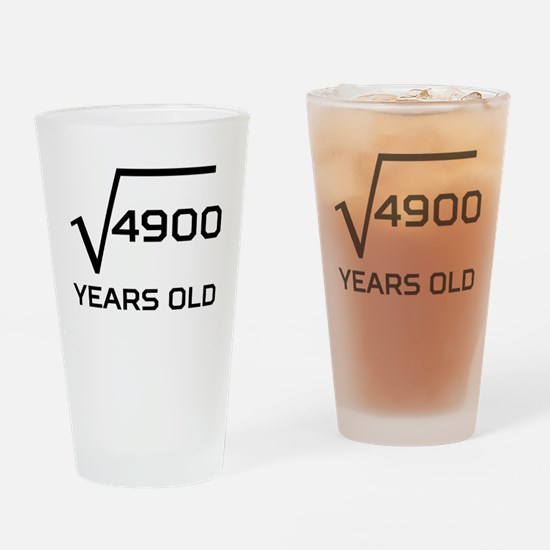 Square Root 70 Years Old Drinking Glass