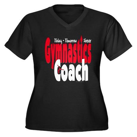 Gymnastics Coach Red Women's Plus Size V-Neck Dark