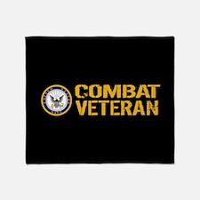 U.S. Navy: Combat Veteran (Black) Throw Blanket