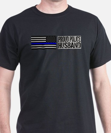 Police: Proud Husband (Black Flag Blue Line) T-Shi