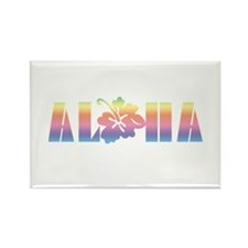 Aloha with Hibiscus Rectangle Magnet