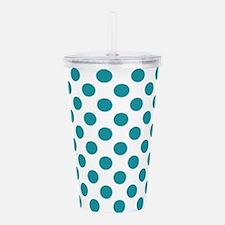 Aqua Blue Polka Dots Acrylic Double-wall Tumbler