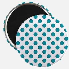 Aqua Blue Polka Dots Magnets