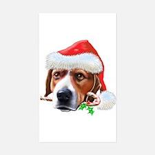 Beagle Christmas Rectangle Decal