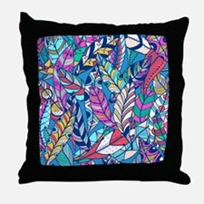 Colorful Feathers Throw Pillow