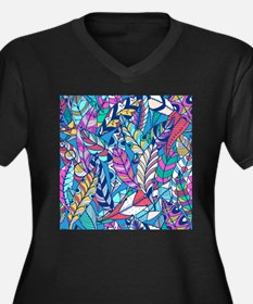 Colorful Feathers Plus Size T-Shirt