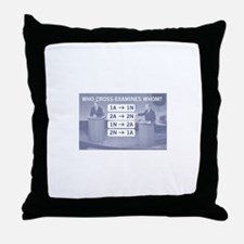 Who cross-examines whom? Throw Pillow