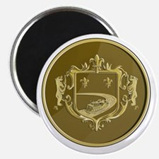 Steamboat Fleur De Lis Coat of Arms Medal Retro Ma
