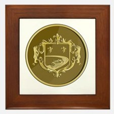 Steamboat Fleur De Lis Coat of Arms Medal Retro Fr