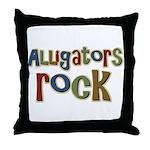 Alligators Rock Gator Reptile Throw Pillow