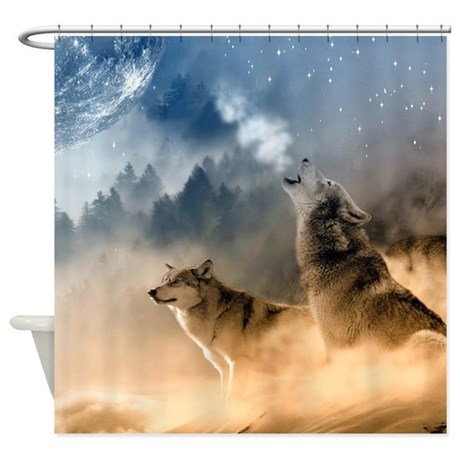 Exceptional Cute Wolf Shower Curtain