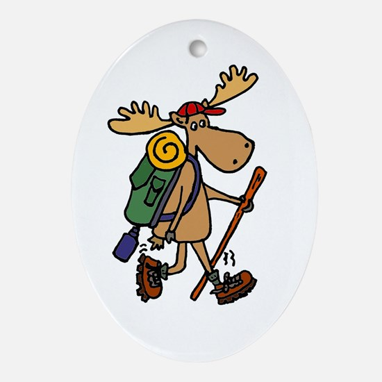 Moose Hiking Oval Ornament