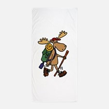 Moose Hiking Beach Towel