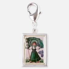 Cute Irish girl Silver Portrait Charm