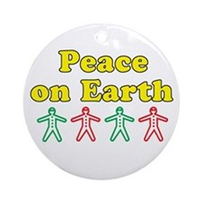 Peace on Earth Holding Hands. Ornament (Round)