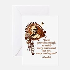 Funky Gandhi -Earth provides enough... Greeting Ca