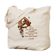 Funky Gandhi -Earth provides enough... Tote Bag