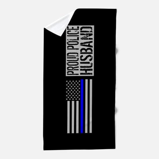 Police: Proud Husband (Black Flag Blue Beach Towel